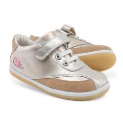 Pantofi fete sport Fire din piele naturala aurie
