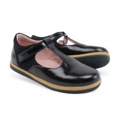 Pantofi fete Shine din piele naturala neagra