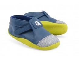 Pantofi copii Origin din piele naturala citron albastru