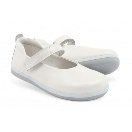 Pantofi fete alb Swirl din piele naturala