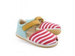 Sandale fete Twist din piele naturala bleu si canvas