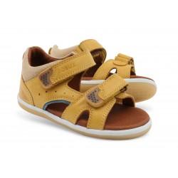 Sandale baieti galben Racheta din piele naturala