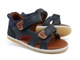 Sandale baieti Racheta din piele naturala bleumarin/ rosu