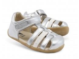 Sandale fete argintiu Jump din piele naturala