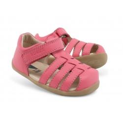 Sandale fete Jump din piele naturala roz intens