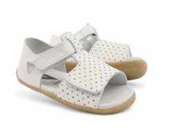 Sandale fete Sun Drops din piele naturala alba/ auriu