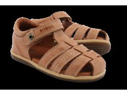 Sandale baieti Global din piele naturala maron deschis