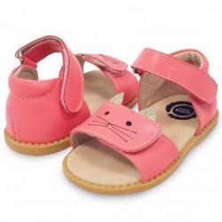 Sandale fete Tabby din piele naturala roz coral