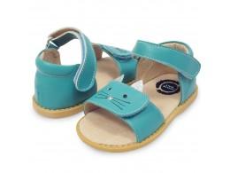 Sandale fete Tabby din piele naturala albastru turcoaz