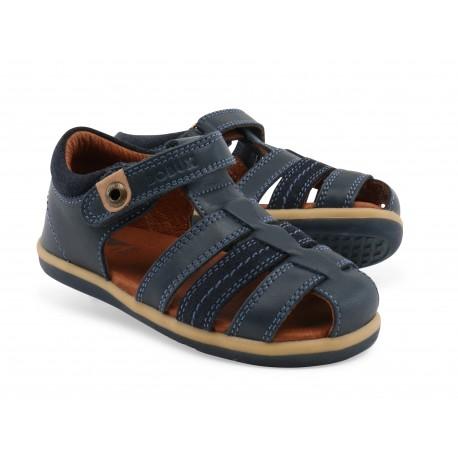 Sandale baieti Global din piele naturala bleumarin