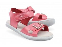 Sandale fete Pop din piele naturala roz coral