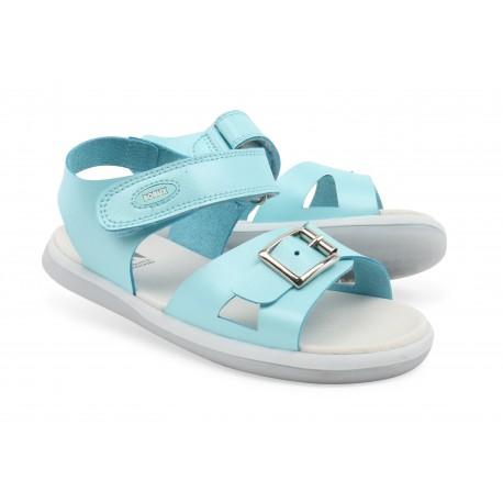 Sandale fete Pop din piele naturala bleu
