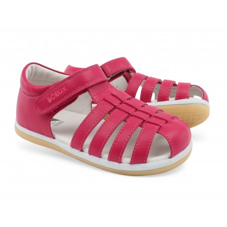 Sandale fete Rove din piele naturala fucsia
