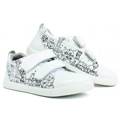 Pantofi sport copii Custom din piele naturala alba