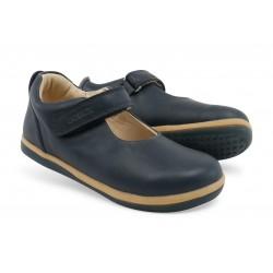 Pantofi fete Charm din piele naturala bleumarin
