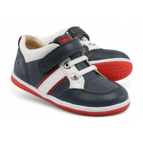 Pantofi baieti sport Racer din piele naturala bleumarin rosu
