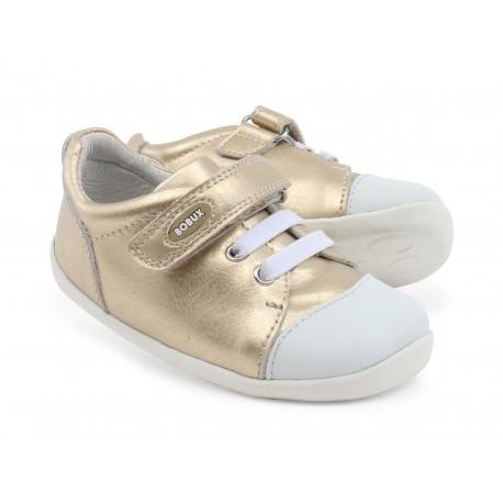 Pantofi fete sport Scribble din piele naturala aurie