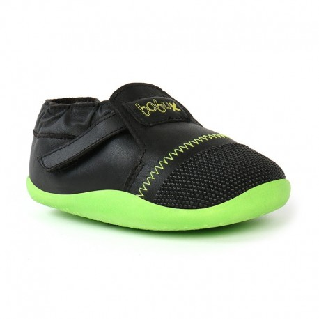 Pantofi copii negru/ lime Xplorer din piele naturala si lana merinos