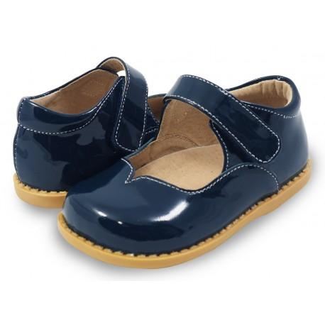 Pantofi fete Astrid din piele naturala lacuita bleumarin