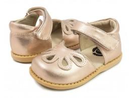 Pantofi fete auriu Petal din piele naturala