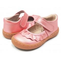 Pantofi fete Ruche din piele naturala roz guava