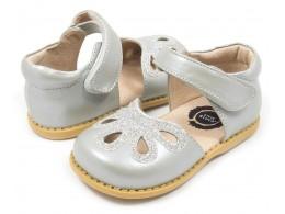 Pantofi fete Petal argintiu din piele naturala