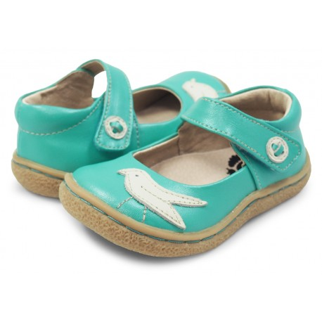 Pantofi fete Pio Pio din piele naturala verde acqua