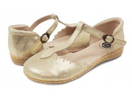 Pantofi fete auriu Fresca din piele naturala