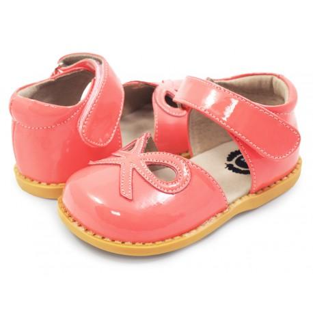 Pantofi fete Bow din piele naturala coral