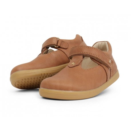 Pantofi fete Louise din piele naturala maron caramel