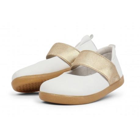 Pantofi fete Sparkle din piele naturala alba