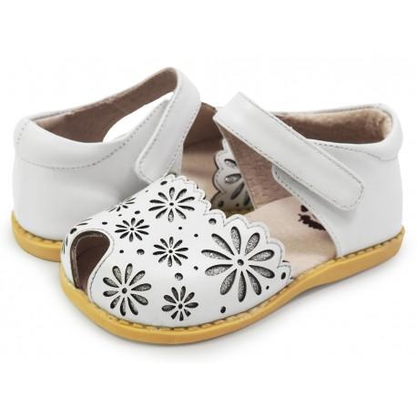 Sandale fete Carmen din piele naturala alba