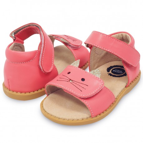 Sandale fete Tabby din piele naturala roz coral