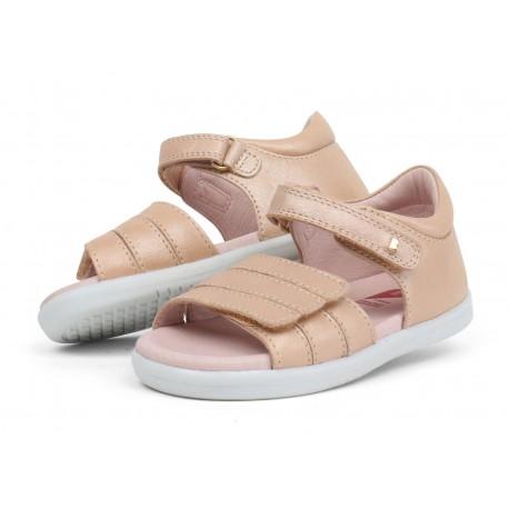 Sandale fete Hampton din piele naturala bej auriu