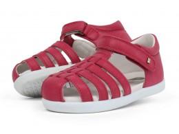 Sandale fete Rove din piele naturala roz inchis