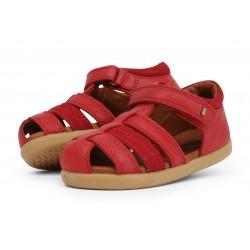 Sandale copii Global din piele naturala rosie