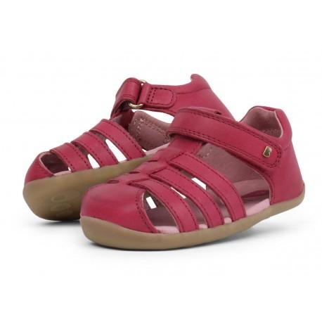 Sandale fete Jump din piele naturala roz inchis