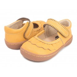 Pantofi fete Ruche din piele naturala galbena