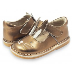 Pantofi fete aramiu Molly din piele naturala