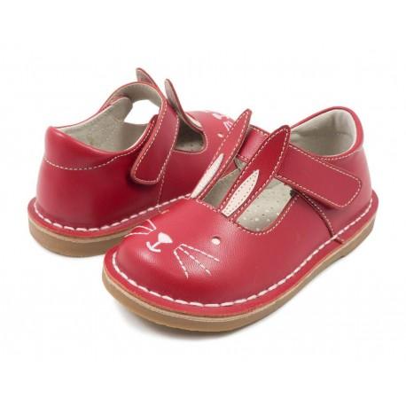 Pantofi fete rosu Molly din piele naturala