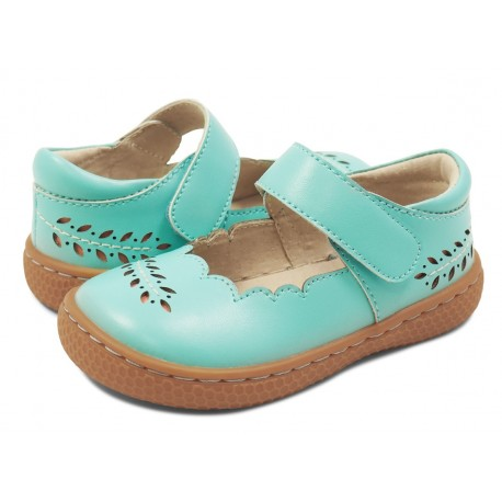 Pantofi fete Juniper din piele naturală albastru turcoaz