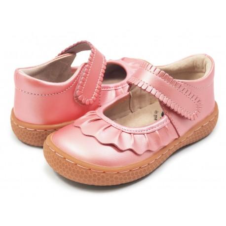 Pantofi fete Ruche din piele naturală roz guava