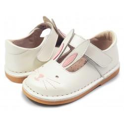 Pantofi fete Molly din piele naturală albă perlă