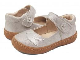Pantofi fete Pio Pio din piele naturală argintie cu sclipici