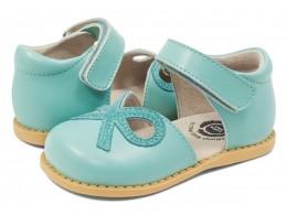 Pantofi fete Bow din piele naturală albastru turcoaz