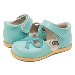 Pantofi fete Bow din piele naturală albastră