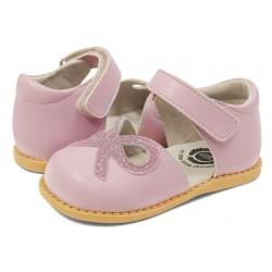 Pantofi fete Bow din piele naturală mov lavandă