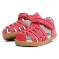 Sandale fete Rove din piele naturală roz pepene
