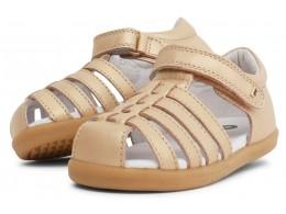 Sandale fete Rove din piele naturală aurie