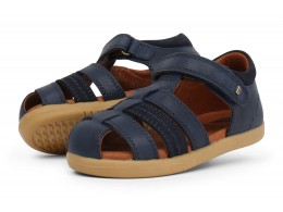 Sandale baieti Global din piele naturală bleumarin